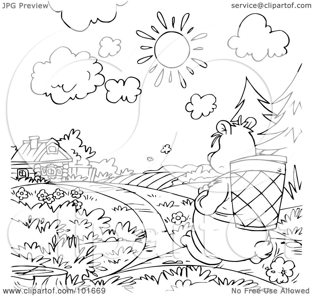 Royalty Free Rf Clipart Illustration Of A Coloring Page Outline Of A Bear Walking Towards A