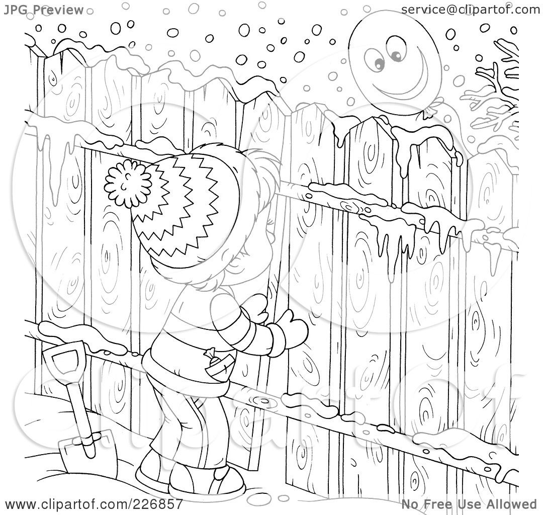 Royalty Free Rf Clipart Illustration Of A Coloring Page Outline Of A Boy Peeking Through A