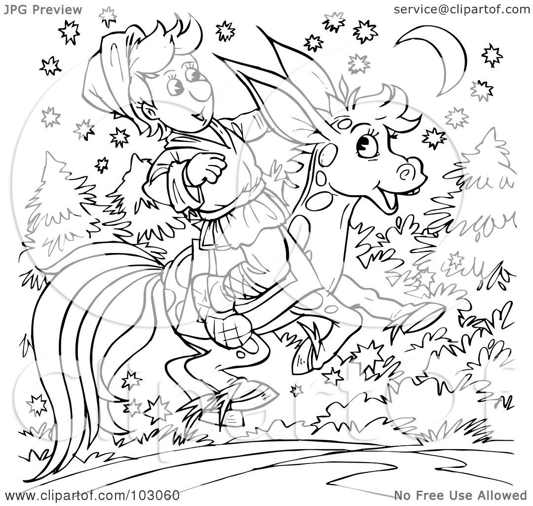 Royalty Free Rf Clipart Illustration Of A Coloring Page Outline Of A Boy Riding A Donkey Horse
