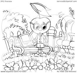 outline garden coloring bench clipart cherry head illustration royalty rf bannykh alex