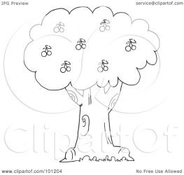 cherry outline tree coloring clipart royalty toon hit illustration rf background