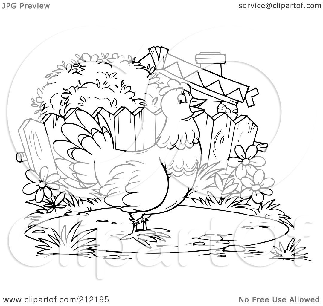 Royalty Free Rf Clipart Illustration Of A Coloring Page Outline Of A Chicken By A Fence By