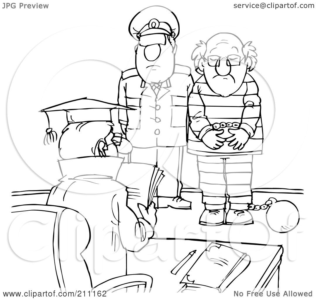 Royalty Free Rf Clipart Illustration Of A Coloring Page Outline Of A Cop With A Prisoner In