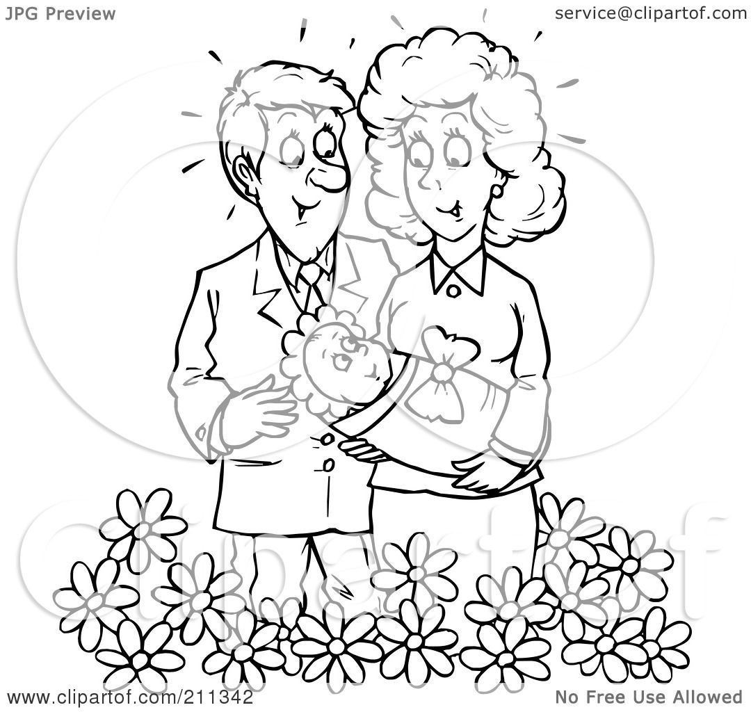 Royalty Free Rf Clipart Illustration Of A Coloring Page Outline Of A Couple Holding Their Baby