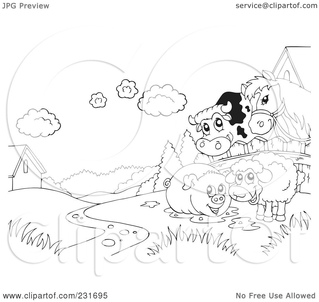 Royalty Free Rf Clipart Illustration Of A Coloring Page Outline Of A Cow Horse Pig And Sheep