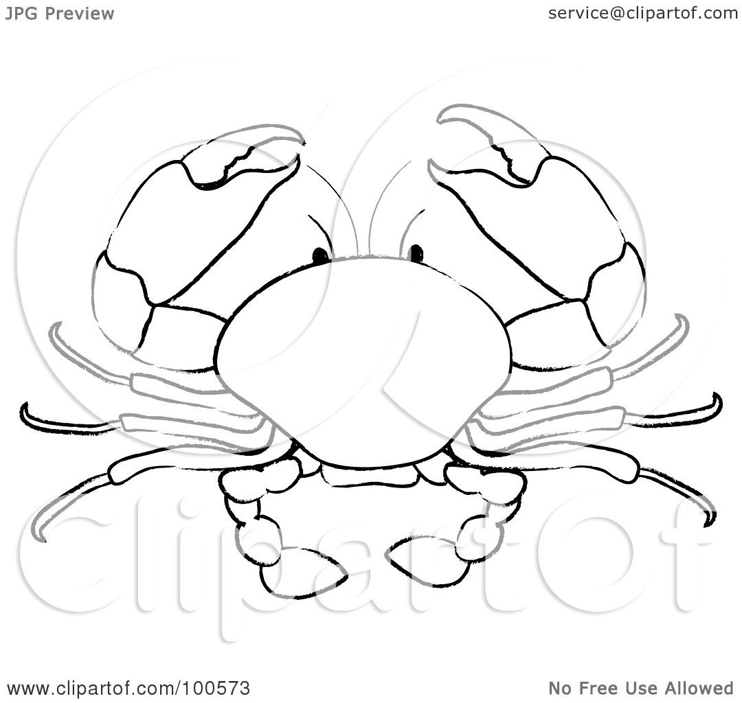 Royalty Free Rf Clipart Illustration Of A Coloring Page Outline Of A Crab By Pams Clipart
