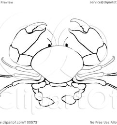royalty free rf clipart illustration of a coloring page outline of a crab by pams clipart [ 1080 x 1024 Pixel ]