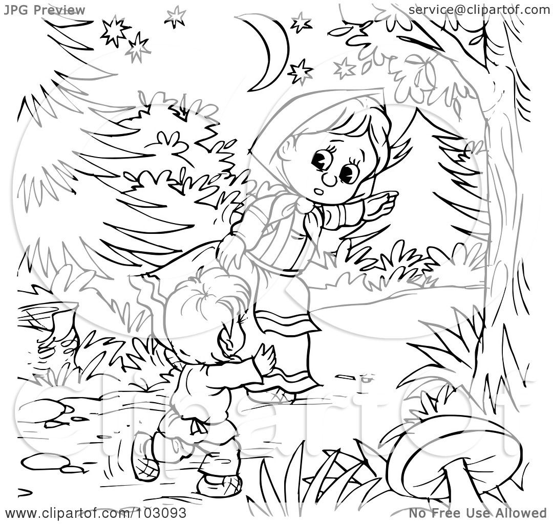 Royalty Free Rf Clipart Illustration Of A Coloring Page Outline Of A Girl Leading A Boy