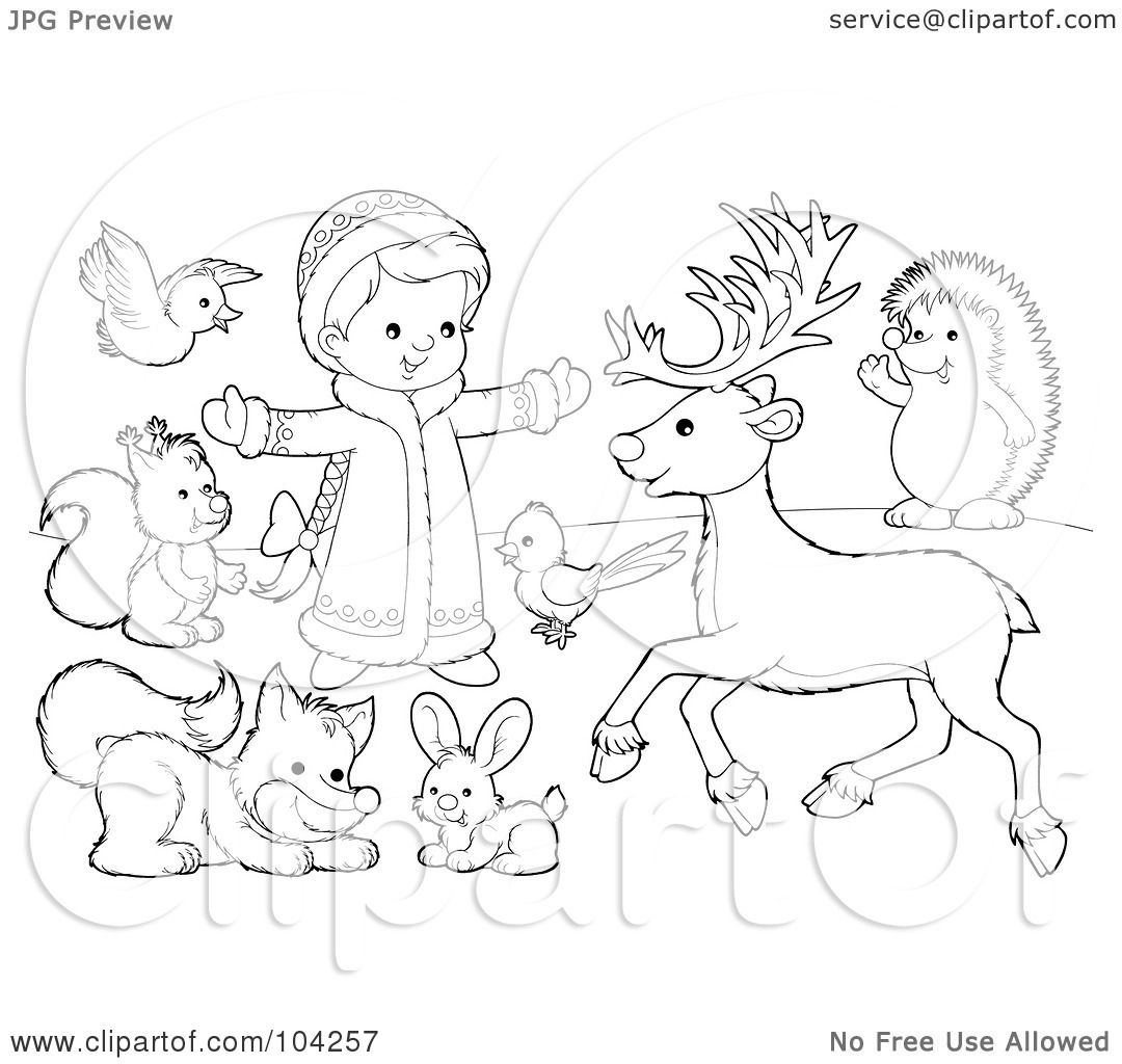 Royalty Free Rf Clipart Illustration Of A Coloring Page Outline Of A Girl Playing Outside With