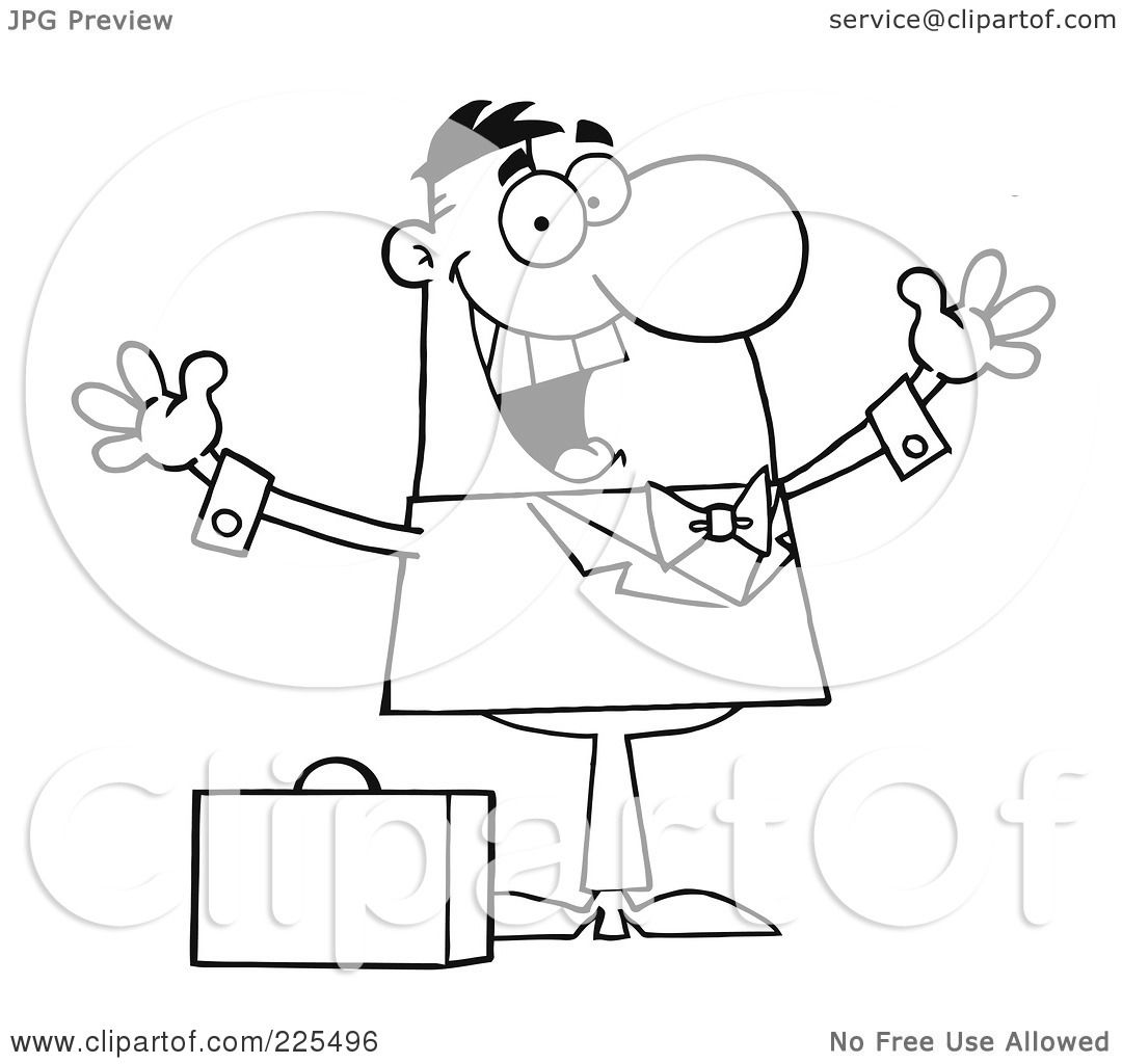 Royalty Free Rf Clipart Illustration Of A Coloring Page Outline Of A Happy Businessman Holding