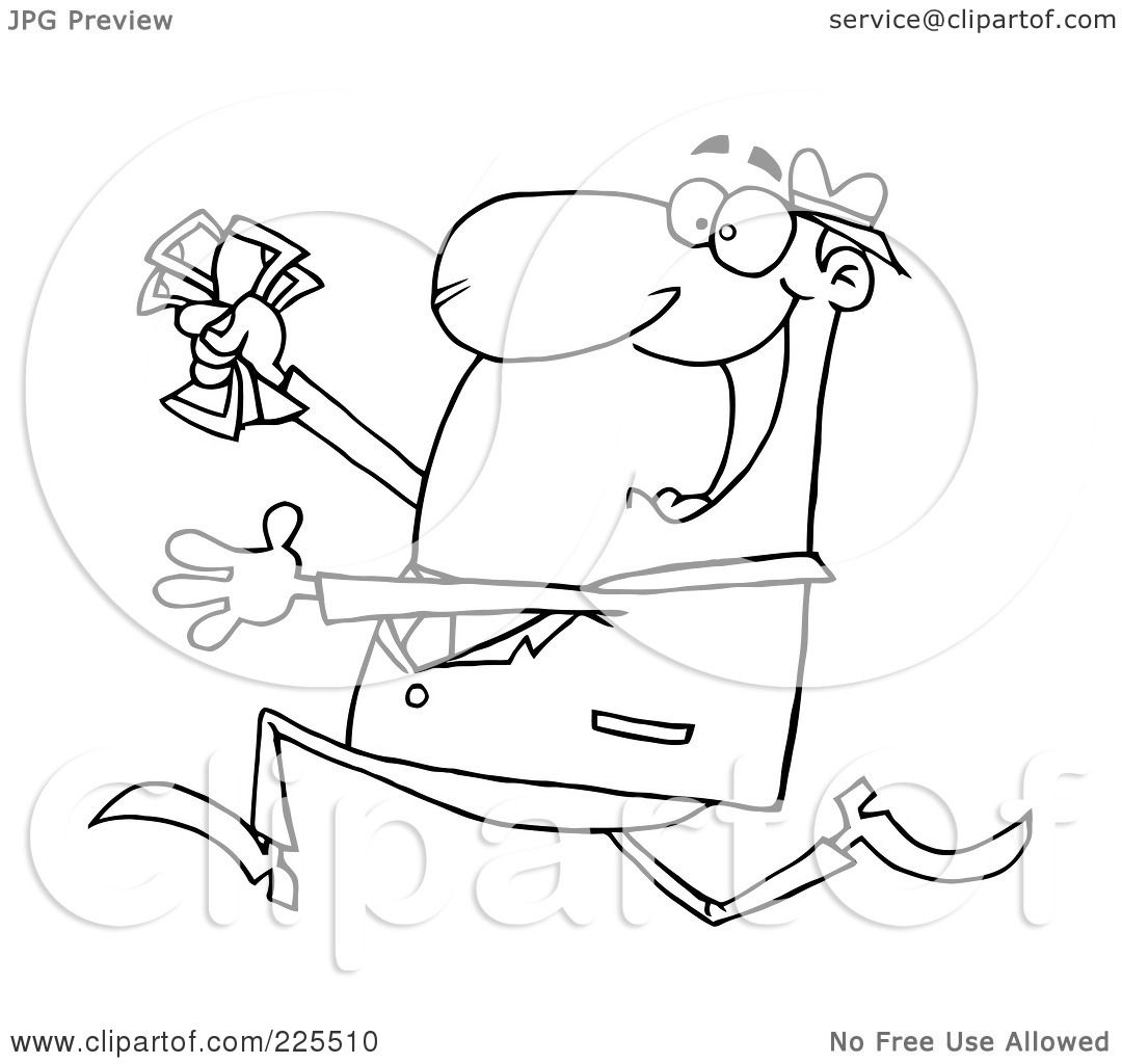 Royalty Free Rf Clipart Illustration Of A Coloring Page Outline Of A Happy Businessman Running