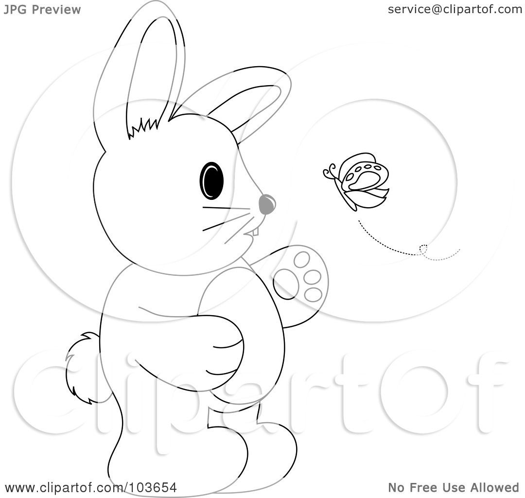 Royalty Free Rf Clipart Illustration Of A Coloring Page Outline Of A Rabbit Standing And