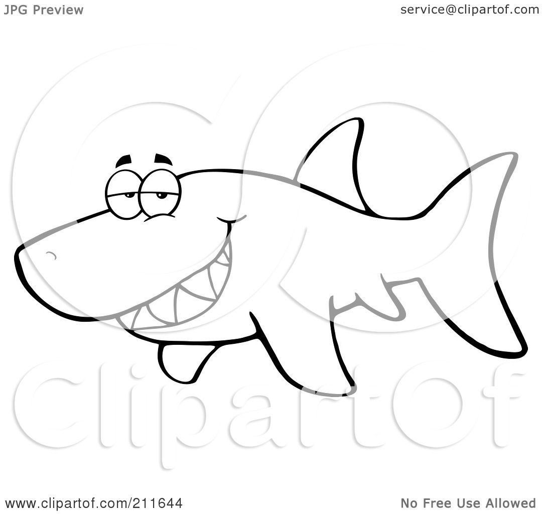 outline shark coloring pages