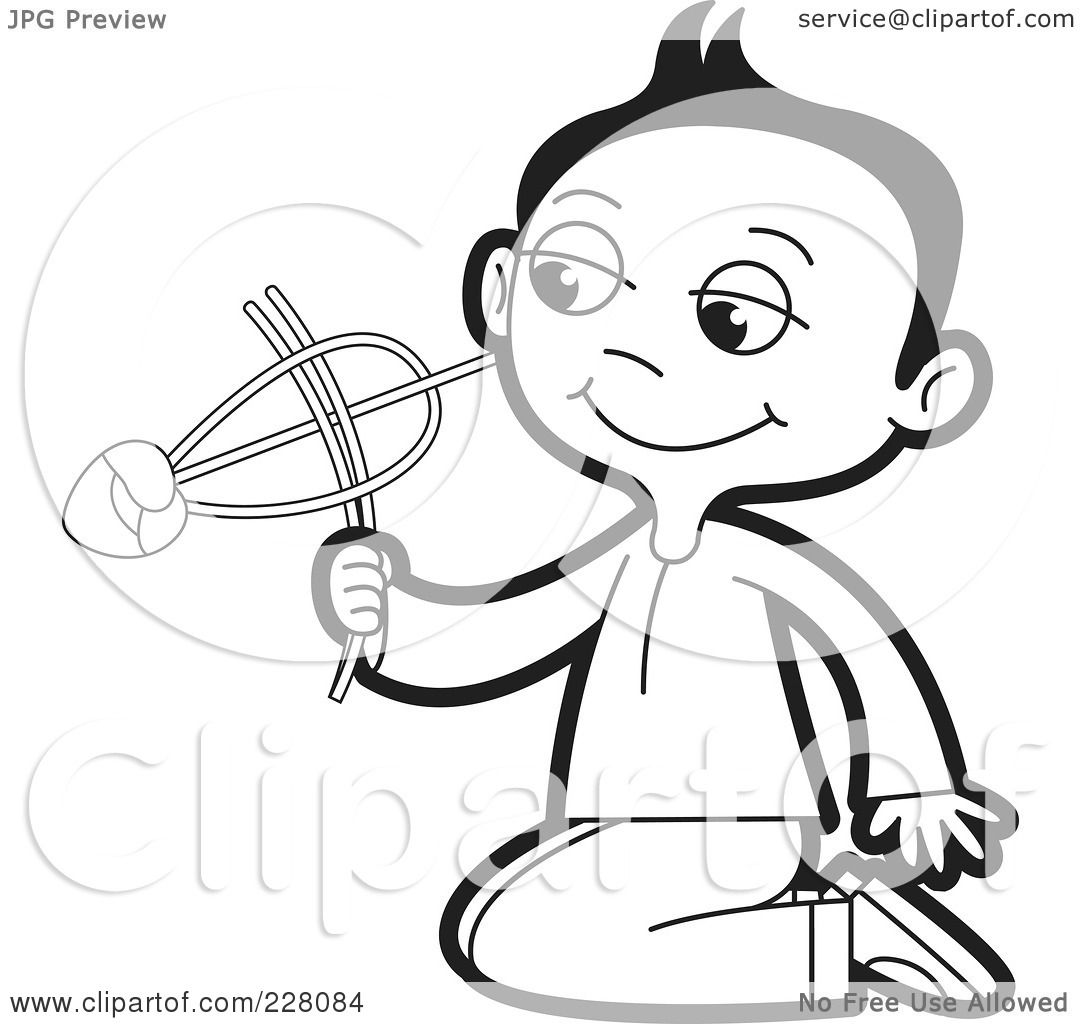 Royalty Free Rf Clipart Illustration Of A Coloring Page Outline Of A Sinhala Boy Playing With
