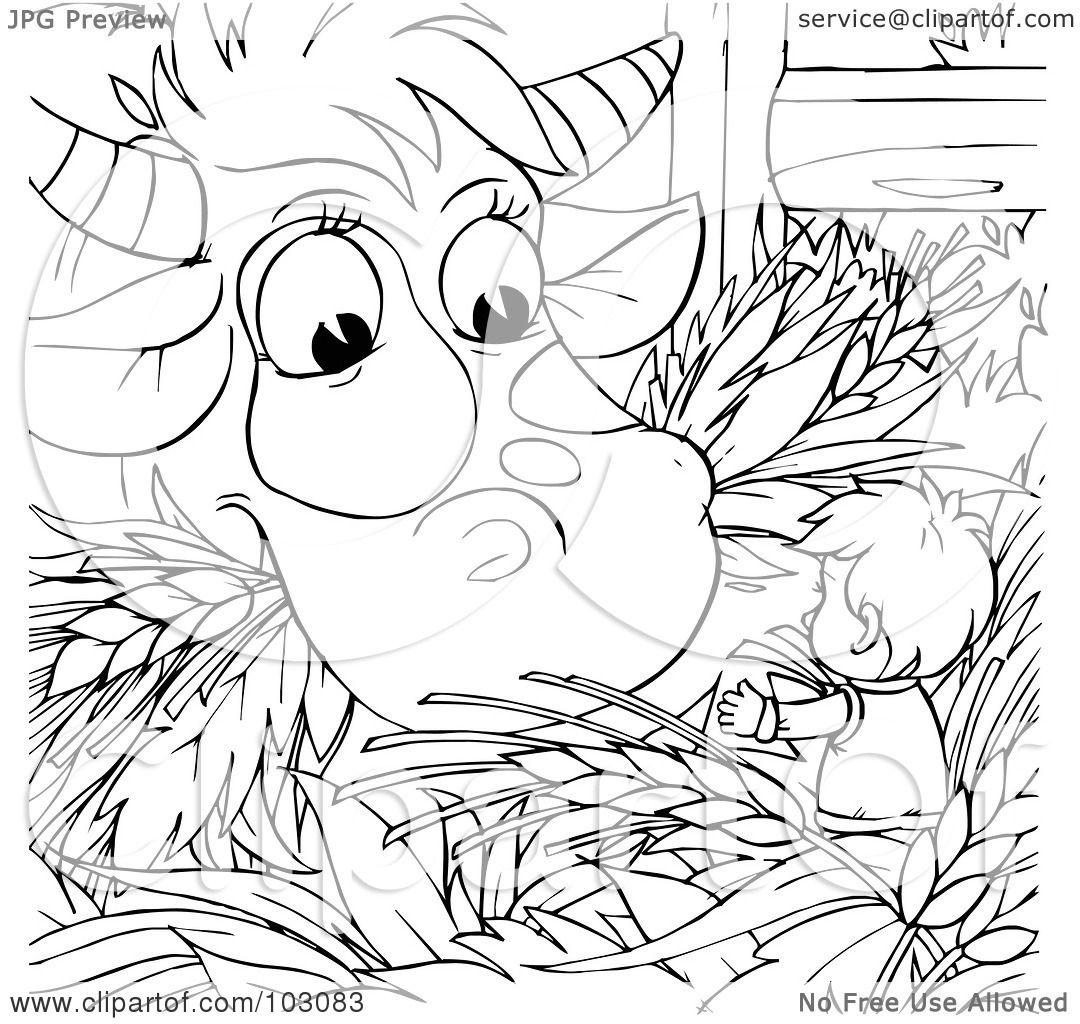 Royalty Free Rf Clipart Illustration Of A Coloring Page Outline Of A Tiny Boy By An Eating Cow