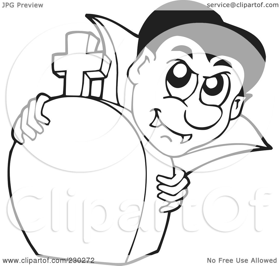 Royalty Free Rf Clipart Illustration Of A Coloring Page Outline Of A Vampire And Tombstone By