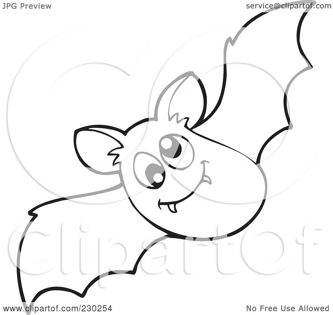 Royalty Free Rf Clipart Illustration Of A Coloring Page Outline Of A Vampire Bat By Visekart