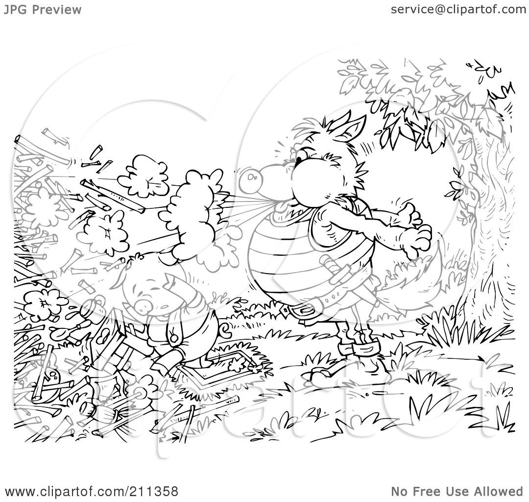 Royalty Free Rf Clipart Illustration Of A Coloring Page Outline Of A Wolf Blowing Down A Pig S