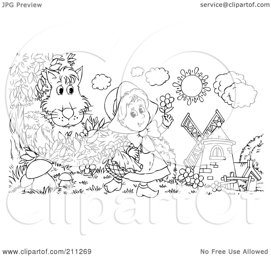Royalty Free Rf Clipart Illustration Of A Coloring Page Outline Of A Wolf Hiding Behind A Bush