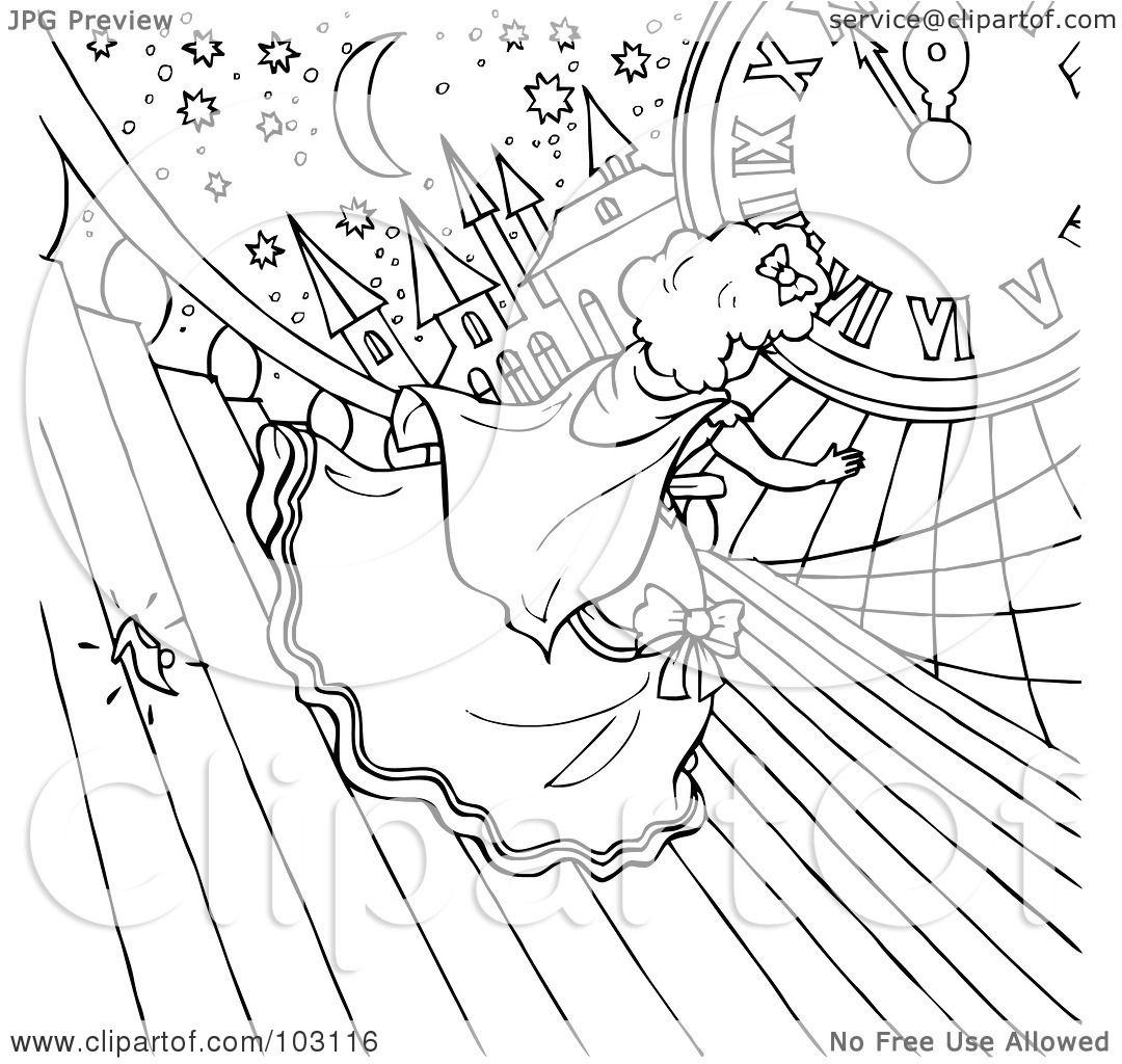 Royalty Free Rf Clipart Illustration Of A Coloring Page Outline Of Cinderella Dropping Her