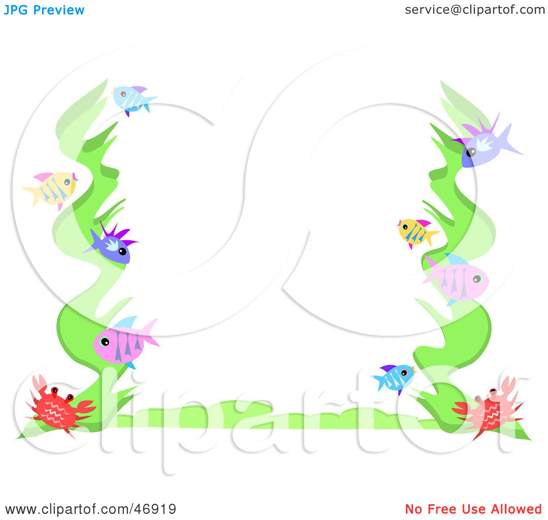 hight resolution of royalty free rf clipart illustration of a crab seaweed and fish border by bpearth