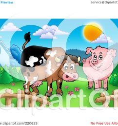 royalty free rf clipart illustration of a cute cow and pig in a mountainous pasture by visekart [ 1080 x 1024 Pixel ]
