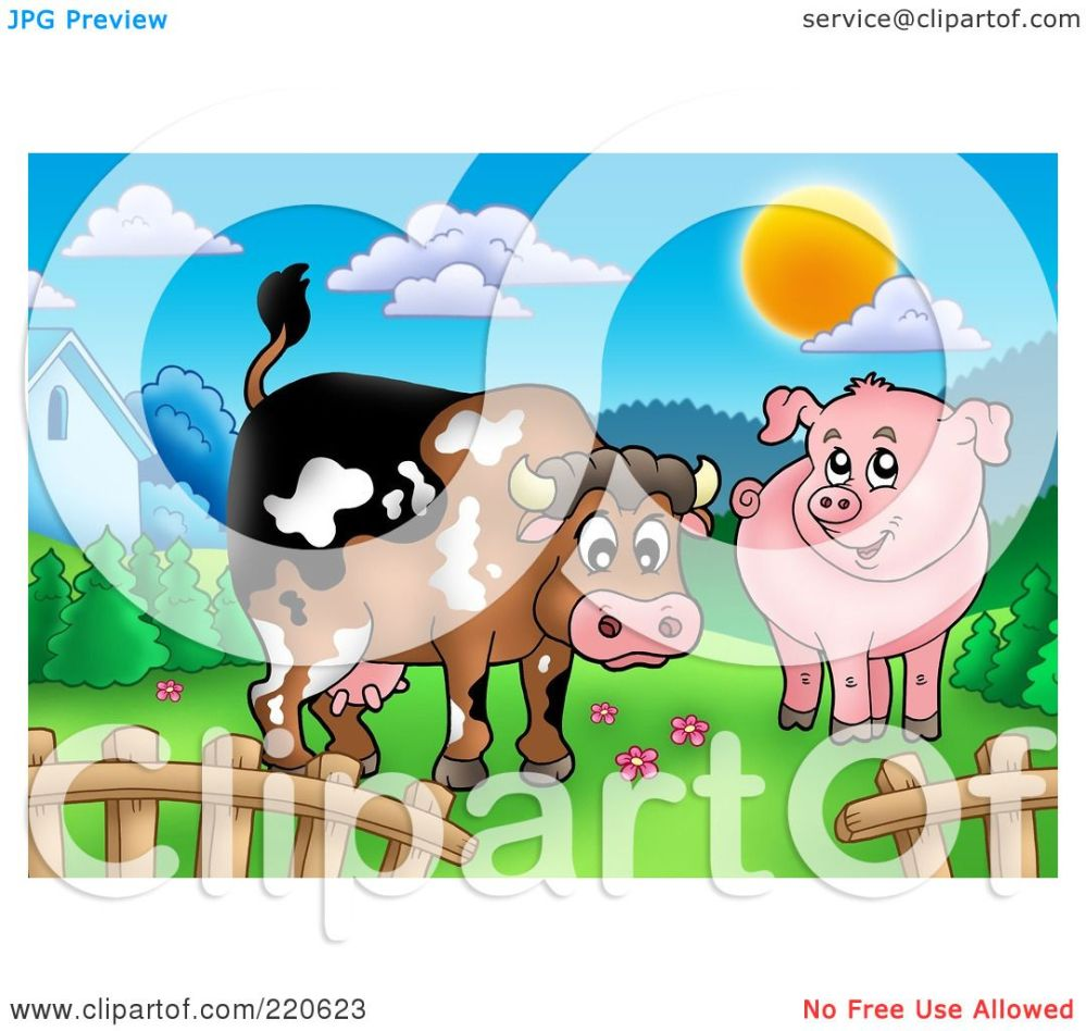 medium resolution of royalty free rf clipart illustration of a cute cow and pig in a mountainous pasture by visekart