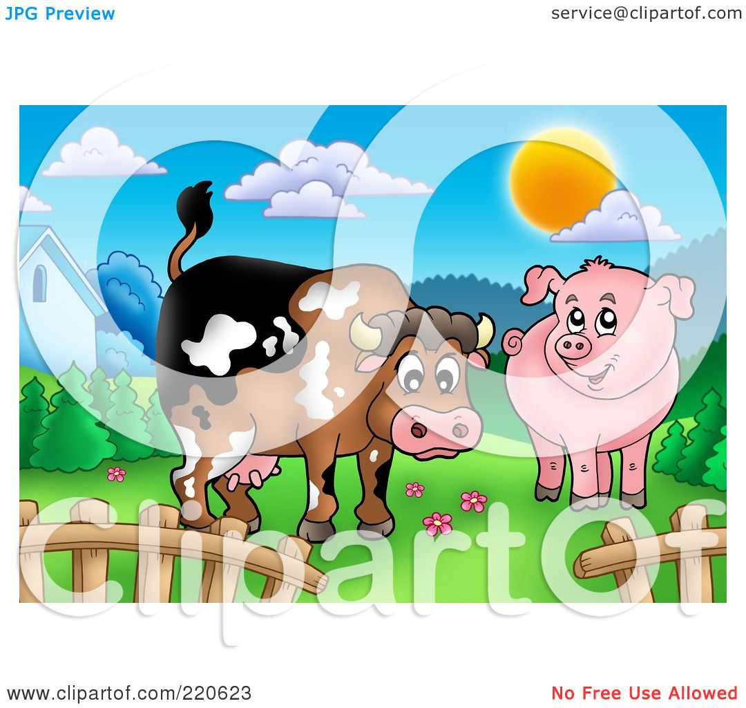 hight resolution of royalty free rf clipart illustration of a cute cow and pig in a mountainous pasture by visekart
