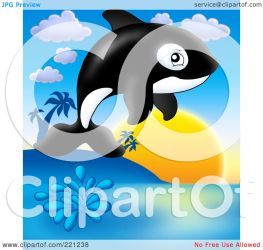 whale jumping sunset cute orca illustration clipart royalty visekart rf protected license copyright law without