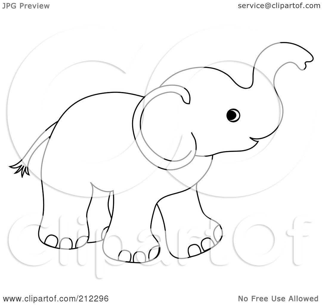 Royalty Free Rf Clipart Illustration Of A Cute Outlined Baby Elephant Holding His Trunk Up By