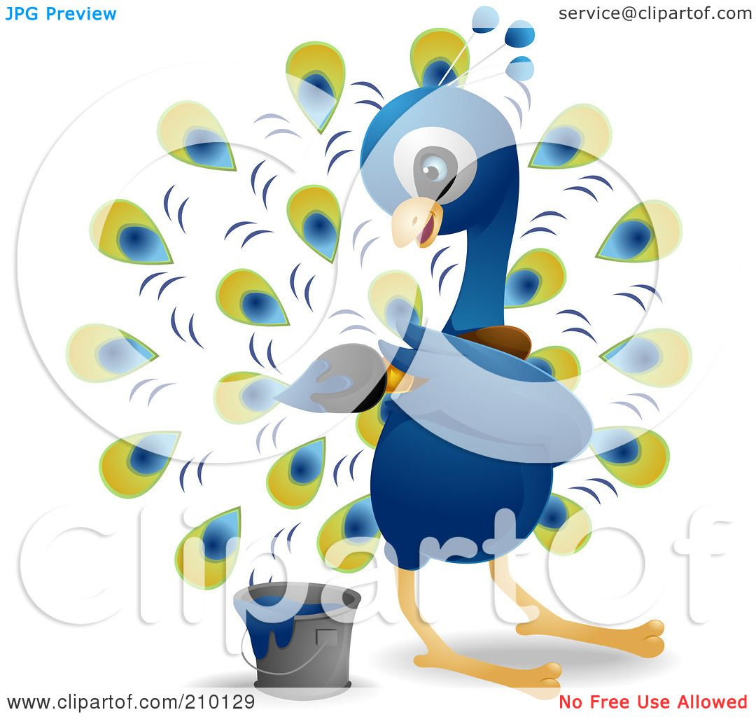 hight resolution of royalty free rf clipart illustration of a cute peacock painting his feathers by bnp design studio