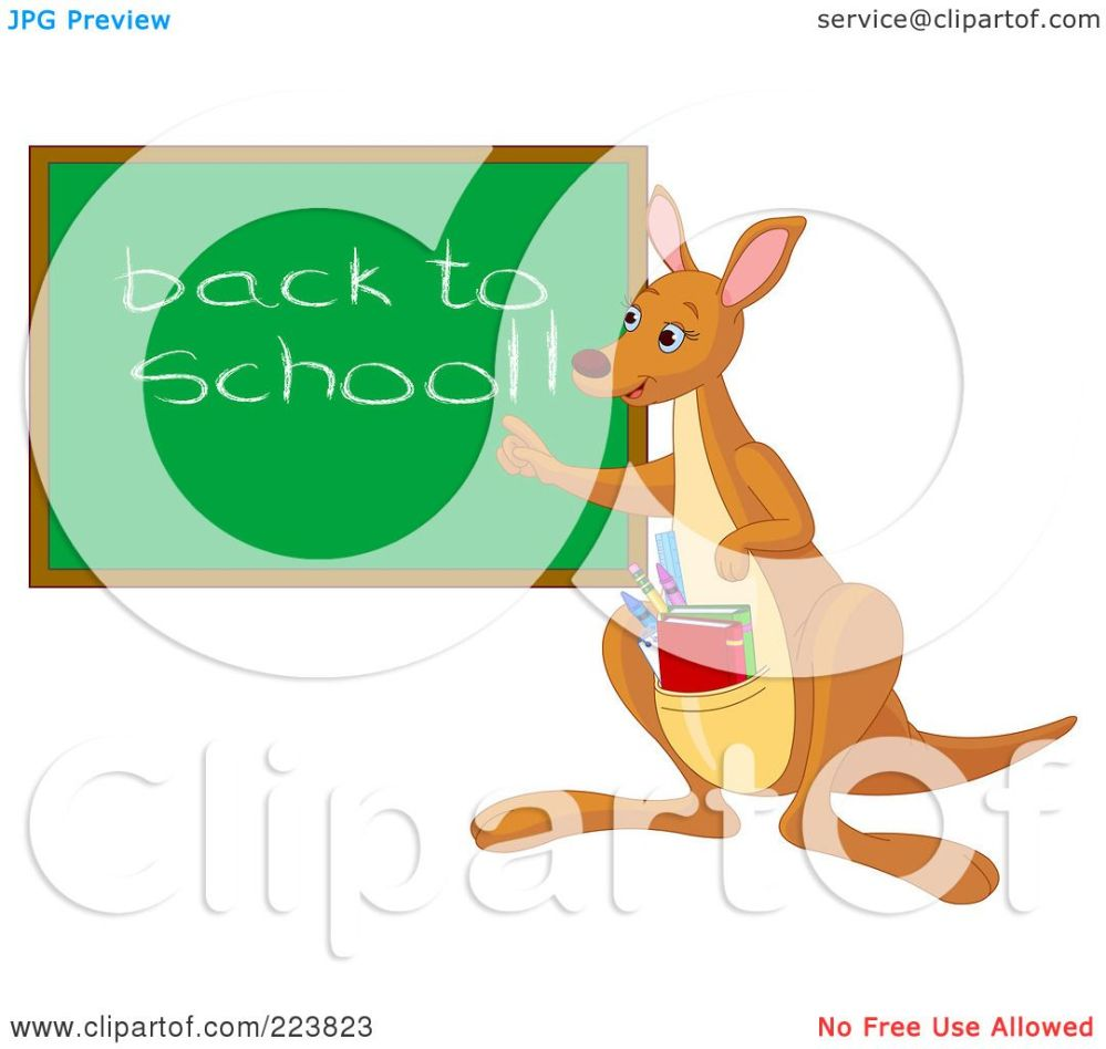 medium resolution of royalty free rf clipart illustration of a cute teacher kangaroo with books in her pouch pointing to a back to school chalk board by pushkin