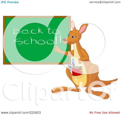 small resolution of royalty free rf clipart illustration of a cute teacher kangaroo with books in her pouch pointing to a back to school chalk board by pushkin