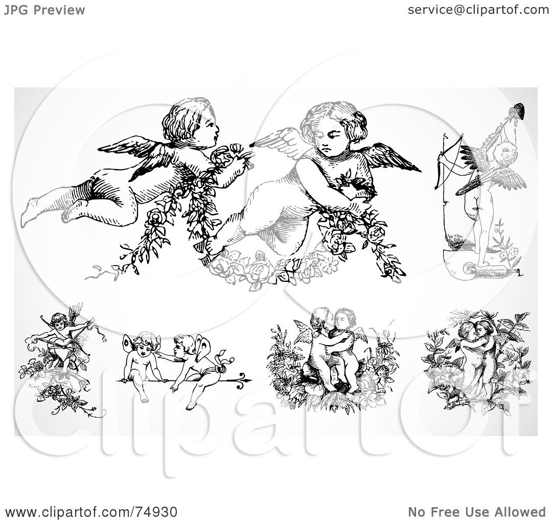 Royalty Free Rf Clipart Illustration Of A Digital Collage Of Black And White Baby Angels Or