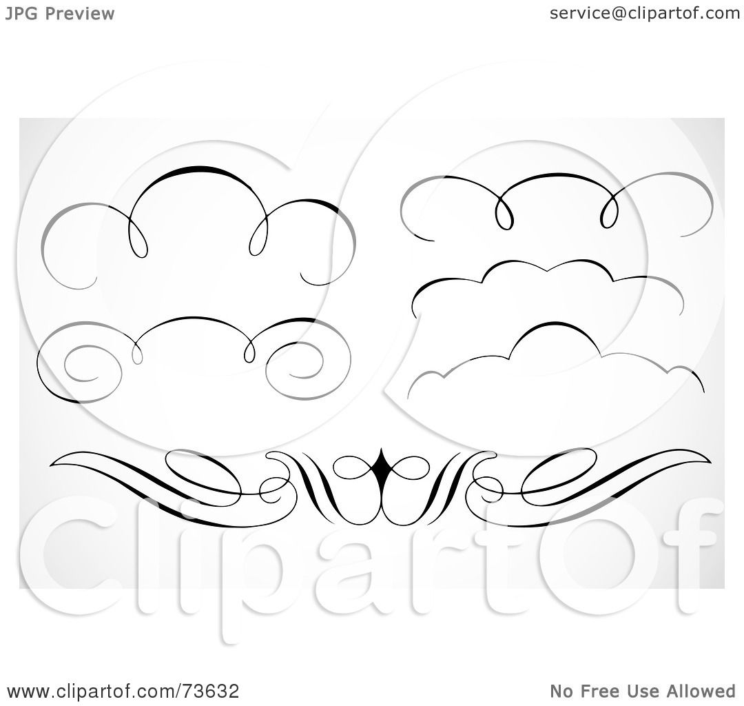 Royalty Free Rf Clipart Illustration Of A Digital Collage Of Black And White Elegant Swirl