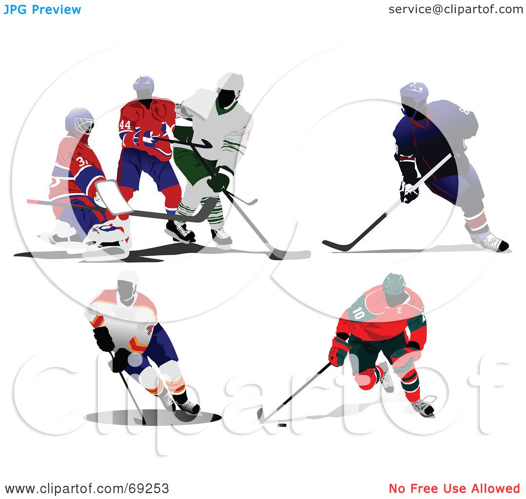 hight resolution of royalty free rf clipart illustration of a digital collage of hockey players by