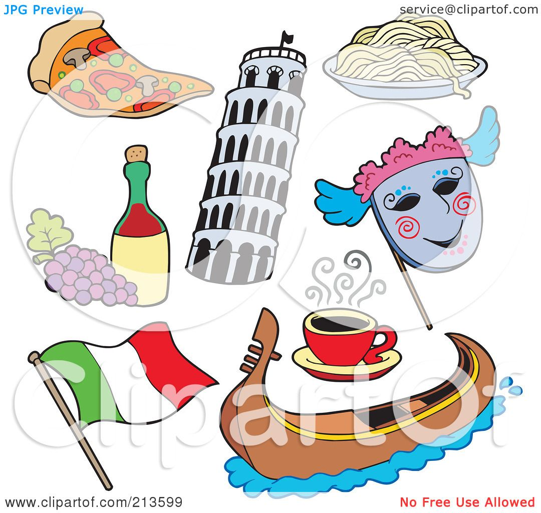 hight resolution of royalty free rf clipart illustration of a digital collage of italian items by