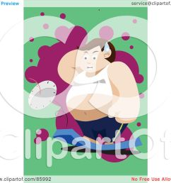 royalty free rf clipart illustration of a fat man standing on and breaking [ 1080 x 1024 Pixel ]