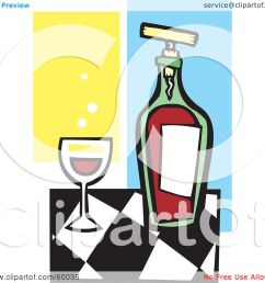 royalty free rf clipart illustration of a glass of red wine by a bottle on a checkered counter by xunantunich [ 1080 x 1024 Pixel ]