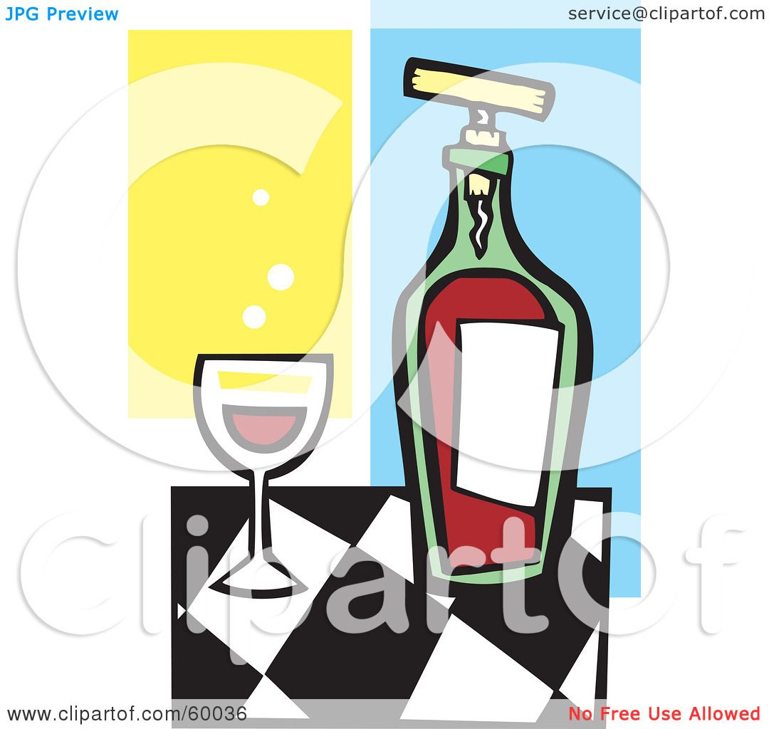 hight resolution of royalty free rf clipart illustration of a glass of red wine by a bottle on a checkered counter by xunantunich