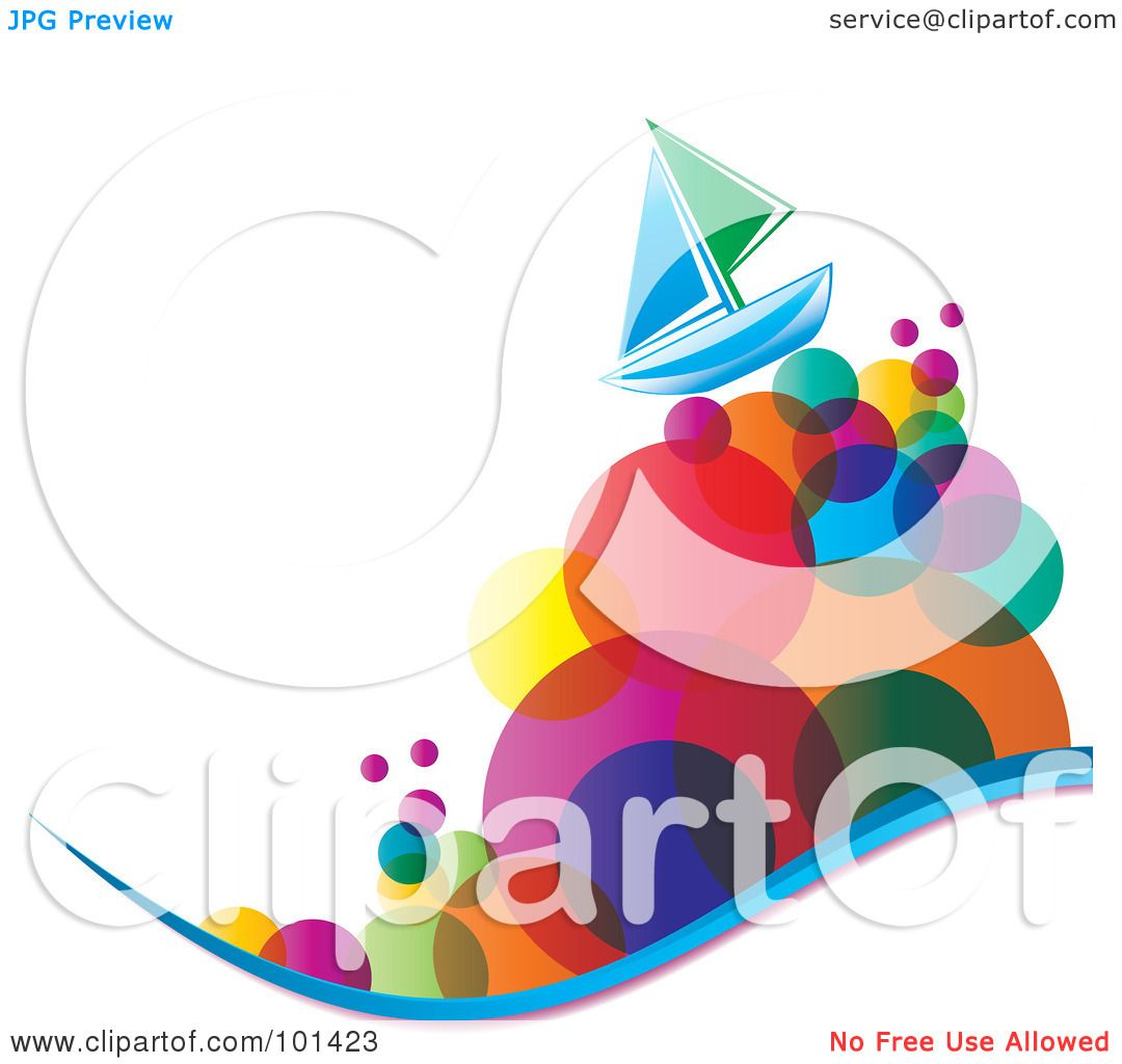 hight resolution of royalty free rf clipart illustration of a green and blue sailboat on colorful bubble waves by milsiart