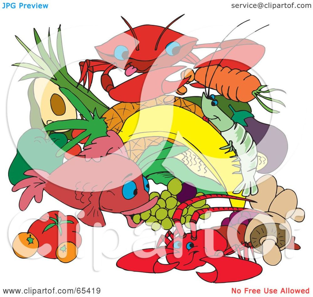 medium resolution of royalty free rf clipart illustration of a group of seafood fruits and
