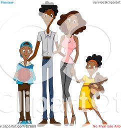 royalty free rf clipart illustration of a happy african american family of four [ 1080 x 1024 Pixel ]