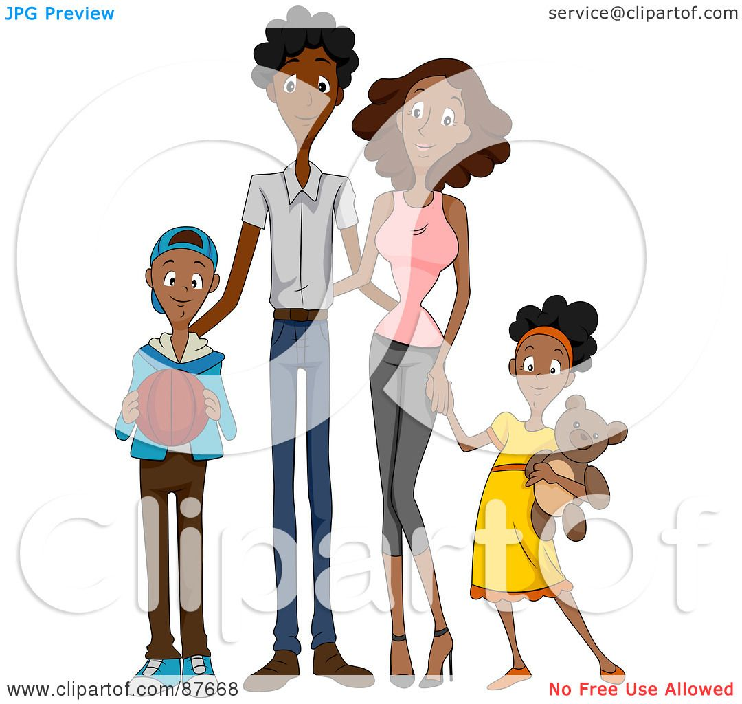 hight resolution of royalty free rf clipart illustration of a happy african american family of four