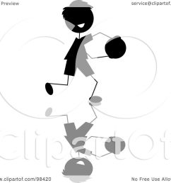 royalty free rf clipart illustration of a happy black silhouetted stick boy running with a ball by pams clipart [ 1080 x 1024 Pixel ]