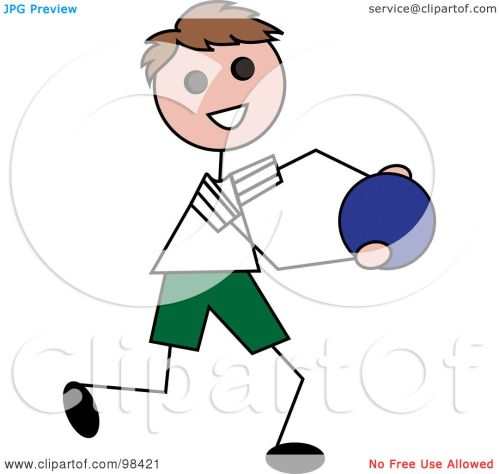 small resolution of royalty free clipart illustration of a happy brunette stick boy running with a ball pams clipart