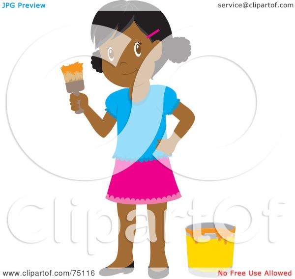 Royalty-free Rf Clipart Illustration Of Little African American Girl Painting With Orange