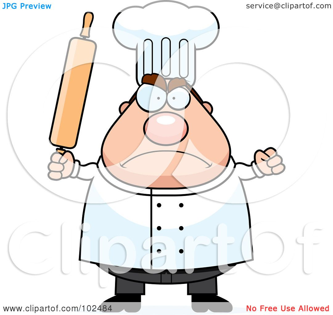 hight resolution of royalty free rf clipart illustration of a mad culinary chef holding a rolling