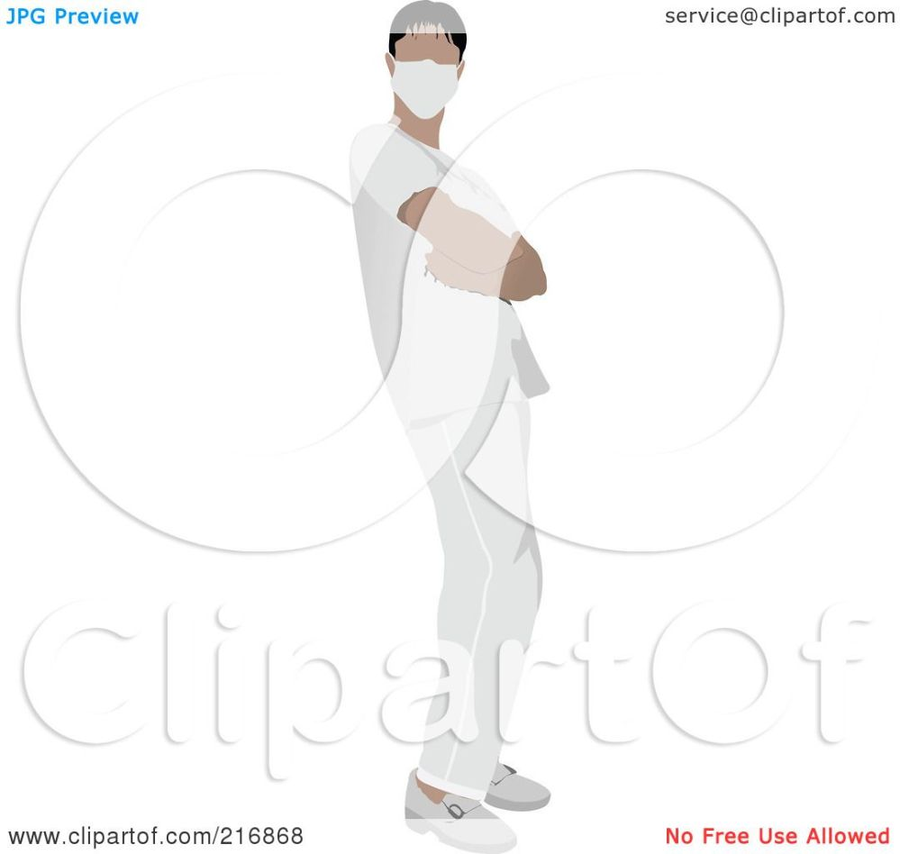 medium resolution of royalty free rf clipart illustration of a male nurse in white scrubs by leonid