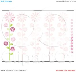 border horizontal pink floral clipart daisy background royalty illustration clip rf cherie reve notes